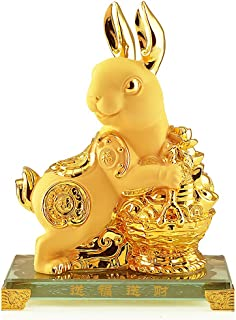 Wenmily Large Size Chinese Zodiac Rabbit Golden Resin Collectible Figurines Table Decor Statue