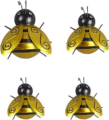 discount OPTIMISTIC outlet online sale Metal Bee Wall Art 3D Sculpture Wall Decor Hanging Ornaments for online sale Indoor and Outdoor Yellow Bee Decor for Garden Metal Wall Art Decorations Set of 4 outlet sale
