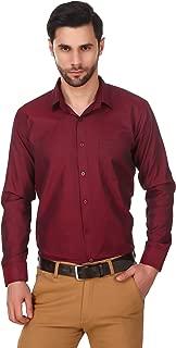 LONG ON Men's Cotton Solid/Plain Slim fit Casual Shirt (Color-Maroon)