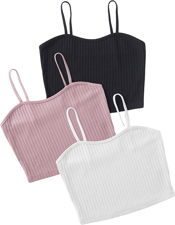 SweatyRocks Women's Sleeveless Ribbed Knit Basic Crop Cami Tank Top Pack of 4