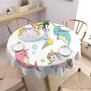 S-ANT Tulle Round Tablecloth Narwhal,Rainbow Colored Unicorns of The Land and Ocean Girly Illustration Colorful Cartoon,Multicolor Buffet Table Holiday Dinner Picnic D58