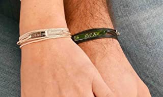 Handmade Personalized Bracelet For Couples Set with Stainless Steel Palette By Galis Jewelry - His and Hers Bracelet - Matching Bracelet - Personalized Jewelry For Couples