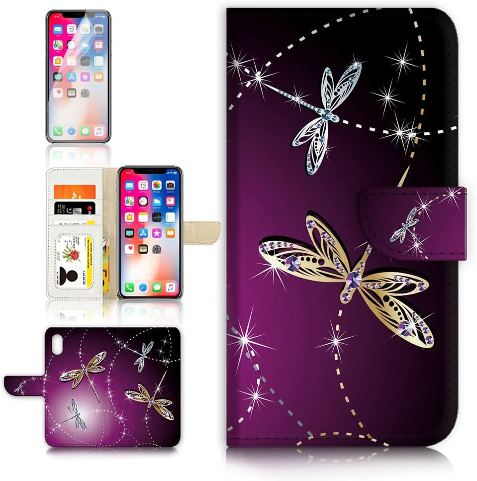 (for iPhone Xs/iPhone X) Flip Wallet Case Cover & Screen Protector Bundle - A20232 Dragonfly