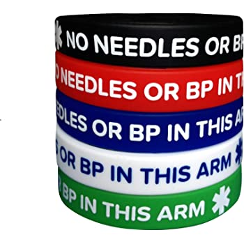 """Men/'s Lymphedema Alert /""""NO NEEDLES OR BP THIS ARM/"""" Wristbands 4 Pack 4 PACK"""
