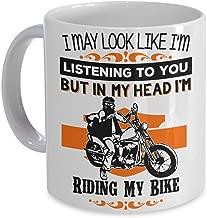 Motorcycle Coffee Mug - In My Head I'm Riding My Bike! Biker Gift Cup PicksPlace