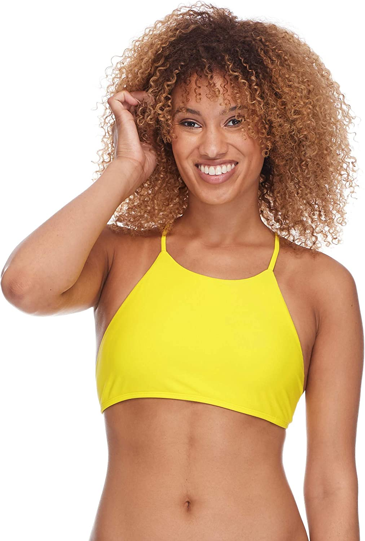 Body Glove Womens Smoothies Elena Solid High Neck Crop Bikini Top Swimsuit