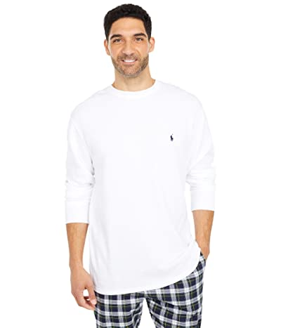 Polo Ralph Lauren Big Midweight Waffle Long Sleeve Crew (White/Cruise Navy Pony Player) Men