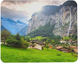Wozukia Touristic Town Mouse Pad Green Fields and Famous Touristic Town with High Waterfall Lauterbrunnen Bernese Oberland...