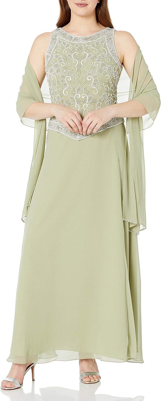 J Kara Women's Long Sleeveless Dress with Scarf