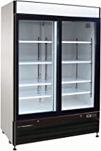 Chef's Exclusive CE327 Commercial 2 Double Sliding Glass Door Refrigerated Merchandiser Cooler Showcase LED Lights 48 Cubic Feet 8 Adjustable Shelves Digital Controller Locks, 54 Inch Wide, White