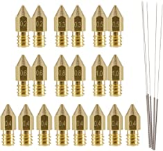 LANIAKEA 20 Pcs 3D Printer Nozzles, MK8 Brass Nozzle Print Head 0.2mm, 0.3mm, 0.4mm, 0.5mm, 0.6mm, 0.8mm, 1.0mm with 5 Pcs Cleaning Needles for Makerbot Creality CR-10 M6 Thread 3D Printer