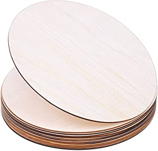 Wood Circles for Crafts, Audab 12 Pack 12 Inch Unfinished Wood Rounds Wooden Cutouts for Crafts, Door Hanger, Door Design,...