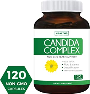 Candida Complex (Non-GMO) 120 Capsules - Extra Strength - Powerful Yeast & Intestinal Flora Support with Caprylic Acid, Oregano Oil and Probiotics - Cleanse Support Supplement