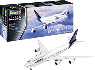Revell-03891 Boeing 747-8 Lufthansa New Livery, Kit Modelo, Escala 1:144, Color Blanco, 52.5 cm (03891)