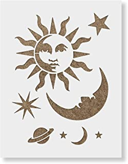 Celestial Sun and Moon Stencil Template - Reusable Stencil with Multiple Sizes Available