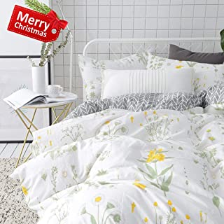 VCLIFE Floral Duvet Cover Sets Full Queen Bedding Sets White Yellow Flower Branches Design Bedding Duvet Cover Sets Cotton Comforter Cover Sets for All Season Queen