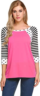 Women's Polka Dots Shirt Striped 3/4 Sleeve Casual Scoop Neck Tops Tee (8 Colors S-XXL)