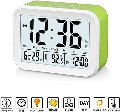 GuDoQi Despertador Digital Reloj Que Habla con 3 Alarmas Luz de Fondo Inteligente Función Snooze Fecha