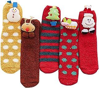 5 Pares Calcetines Termicos Mujer Calcetines de Navidad Calcetines Mujer Para Invierno Primavera Calcetines de estar por casa Calcetines Cómodos y Transpirables para el Invierno Uso Diario