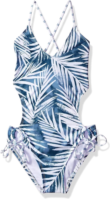 Splendid Girls' Big X-Back One Piece Swimsuit, Stormy Story bluee, 12