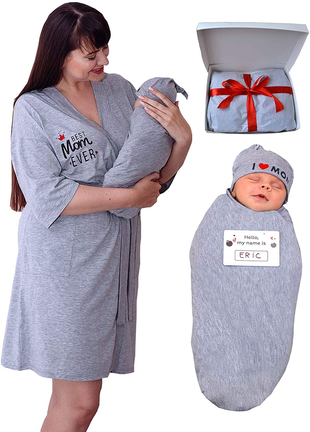 Matching Mommy Labor Year-end annual account Delivery Max 62% OFF Robe Hat and Set Swaddle Blanket