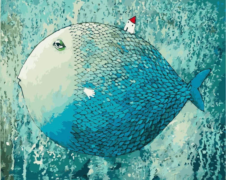 DIY Digital Painting Living Room Decoration Painting Landscape Animal Figure Abstract Painting bluee Sleep Fish, 40x50cm