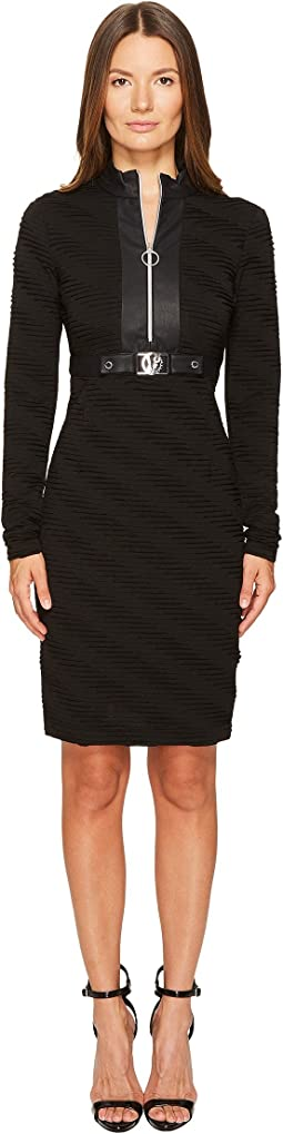 Belted Zip Front Long Sleeve Dress