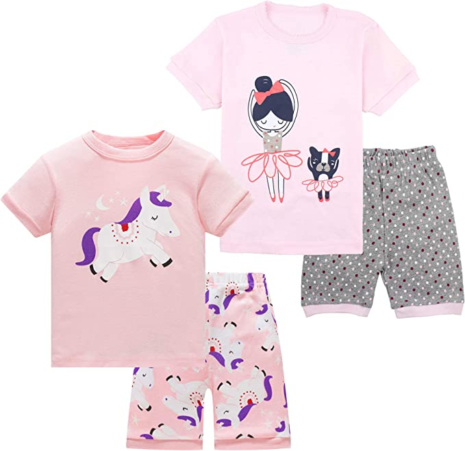 Pajamas for Boys Dinosaur Vehicles Rocket Space PJs Short Sleeve Sets Sleepwear 2-12 Years
