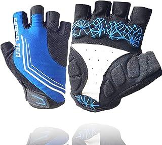 Cycling Gloves Men Women Half Finger Mountain Road Pack, Bike Bicycle Gel Paded Anti Slip Breathable Shockproof Biking Rid...