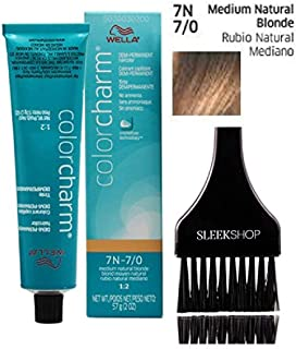 Wella COLOR CHARM DEMI-PERMANENT Haircolor, No Ammonia Cream (w/Sleek Tint Brush) 1:2 Mix Ratio Hair Color Creme DYE (7N-7/0 Medium Natural Blonde.)