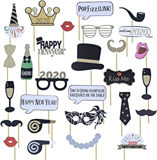 Amosfun 32pcs 2020 Happy New Year eve Photo Booth Props New Years New Years Eve Party Decorations Supplies