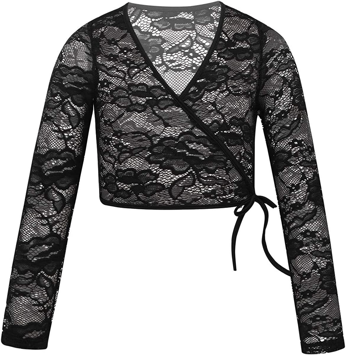 TiaoBug Kids Girls Classic Long Sleeve Floral Lace Mock Wrap Front Sweater Ballet Dance Wrap Tops Cardigan Outwear
