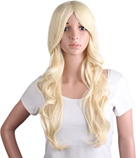 MapofBeauty 24 Inch/60cm Charming Synthetic Fiber Long Wavy Hair Wig Women's Party Full Wig (Light Blonde)