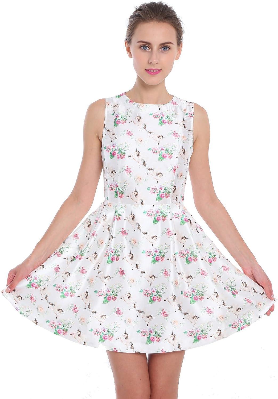 GOceBaby Women Summer Sleeveless ALine Pleated Midriff Cocktail Dress White