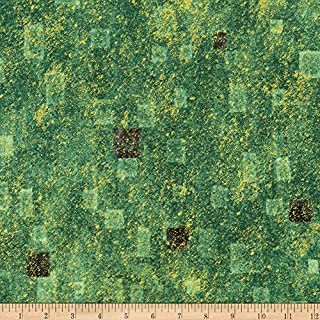 Robert Kaufman 0540668 Kaufman Gustav Klimt Squares Green Metallic Fabric by The Yard,