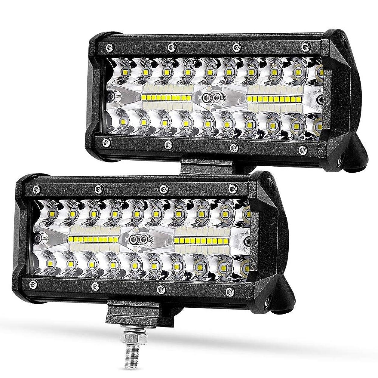 気づくなかなかセンブランスRACBOX 120W LED作業灯 12V 24V 広角タイプ LED ワークライト フォグランプ デッキライト 防水 トラック 船舶 各種作業車対応 二個セット (120W広角タイプ)