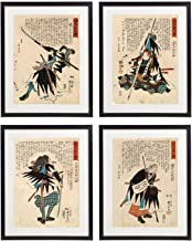 IDIOPIX Japanese Samurai Art Warriors Painting Wall Art Set of 4 Prints UNFRAMED No.1