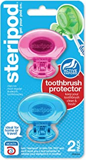 Steripod Clip-on Toothbrush Protector, Pink and Blue, 2 Count