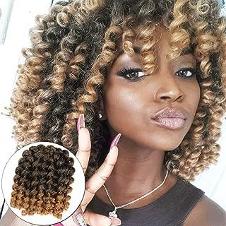 6 Packs Short Wand Curl Spiral Bouncy Jumpy Crochet Hair Afro Small Curls African Hair Extensions for Black Women Xtrend Hair (1B/27#, 6packs/Lot)