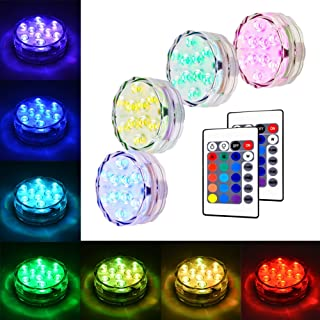 Litake Submersible LED Lights RGB Multicolor Waterproof Remote Control Battery Powered Accent Lights for Fountain Pool Hot...