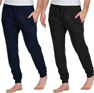 Mens Lounge Pants Pyjama Pjs Joggers Style Bottom Fleece Cotton Rich Plain Soft Warm Nightwear S M L XL Black Navy