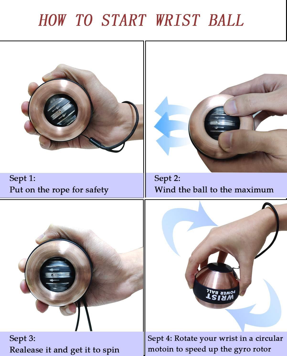 Arm Strengthener Wrist Strength Enhancer Finger S-etovus Auto-Start Wrist Power Gyro Ball Wrist Bones /& Muscles LED Lights Forearm Exerciser Second Generation