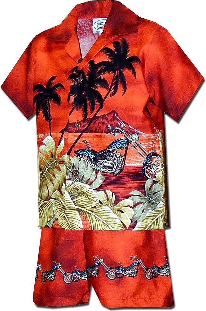 Pacific Legend Boy's Beach Motocycle Hawaiian Cabana Shirt Set