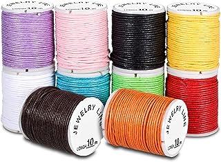 PAMIYO Cordons Cirés 10 Rouleaux de Cordes Multicolores pour DIY Artisanat Fabrication de Bijoux Bracelet 10M 1mm