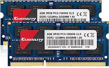 Kuesuny 8GB Kit (4GBX2) DDR3 1333 SODIMM RAM, PC3 10600 / PC3 10600S 204 Pin 1.5V CL9 Non-ECC Unbuffered 2RX8 Dual Rank for Laptop Notebook Computer