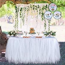 Meng Shop Decoraciones para fiestas Tutu Tulle Falda de mesa Adecuado para fiestas Fiestas de boda Princess Party Decor, Baby & Girls Favorites-Free Paper Chain Flowers (Blanco)