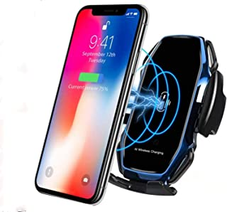 KMI CHOU Phone Holder for Car,Automatic Clamping IR Intelligent Wireless Car Charger Mount - Car Charger Holder 10W Fast Charging for iPhone Xs Max/XR/X/8/8Plus Samsung S10/S9/S8/Note 8-Royal Blue