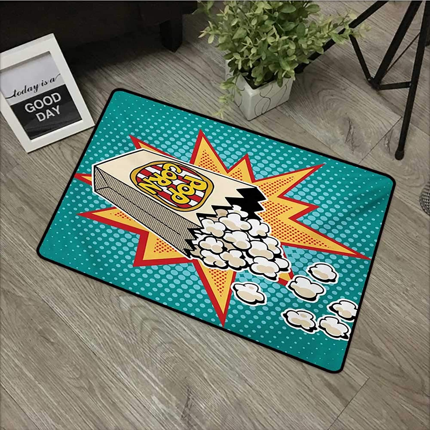 Clear printed pattern door mat W35 x L59 INCH Movie Theater,Halftone Background with Retro Style colorful Popcorn Design Cinema Snacks,Multicolor Non-slip, with non-slip backing,Non-slip Door Mat Carp