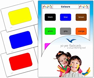 Yo-Yee Flashcards - Color Picture Flash Cards for Babies, Toddlers, Kids, Children and Adults - Vocabulary Image Cards for Teaching and Learning Basic Colours
