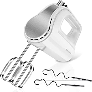 REDMOND Hand Mixer, 5-Speed Electric Hand Mixer with Turbo, Easy Eject Button, 250W Handheld Kitchen Mixer with 4 Stainles...